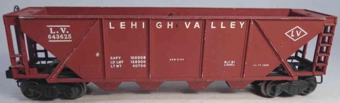 lionel 6436-25 railway toy hopper car lehigh valley maroon gauge 0