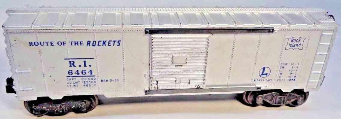 lionel 6464-175 spielzeug eisenbahn gedeckter gueterwagen silbern rock island spur 0