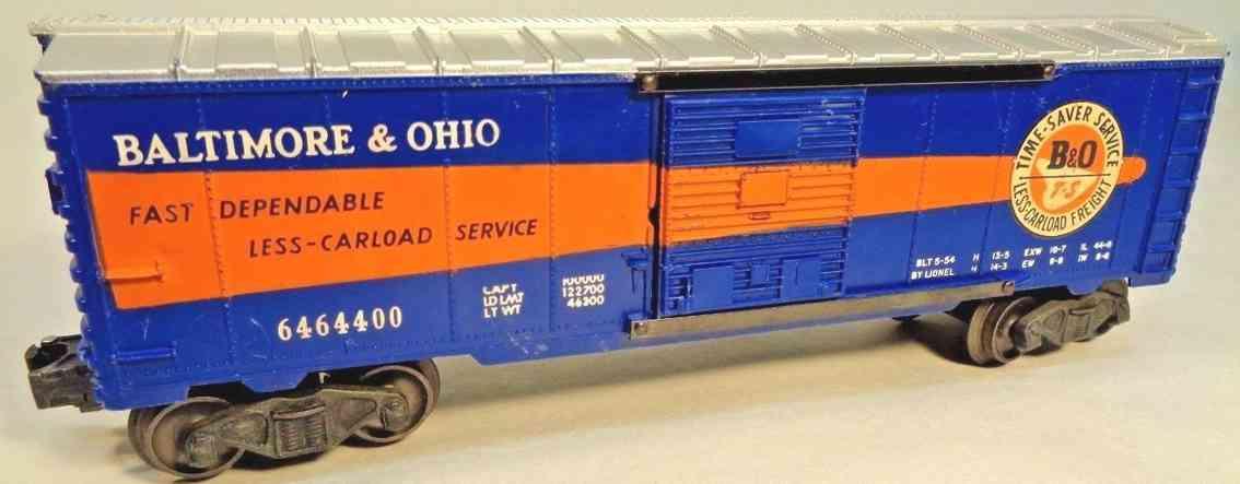 lionel 6464-400 spielzeug eisenbahn gedeckter gueterwagen blau orange silber spur 0