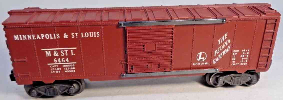 lionel 6464-50 railway toy box car maroon minneapolis & st louis gauge 0