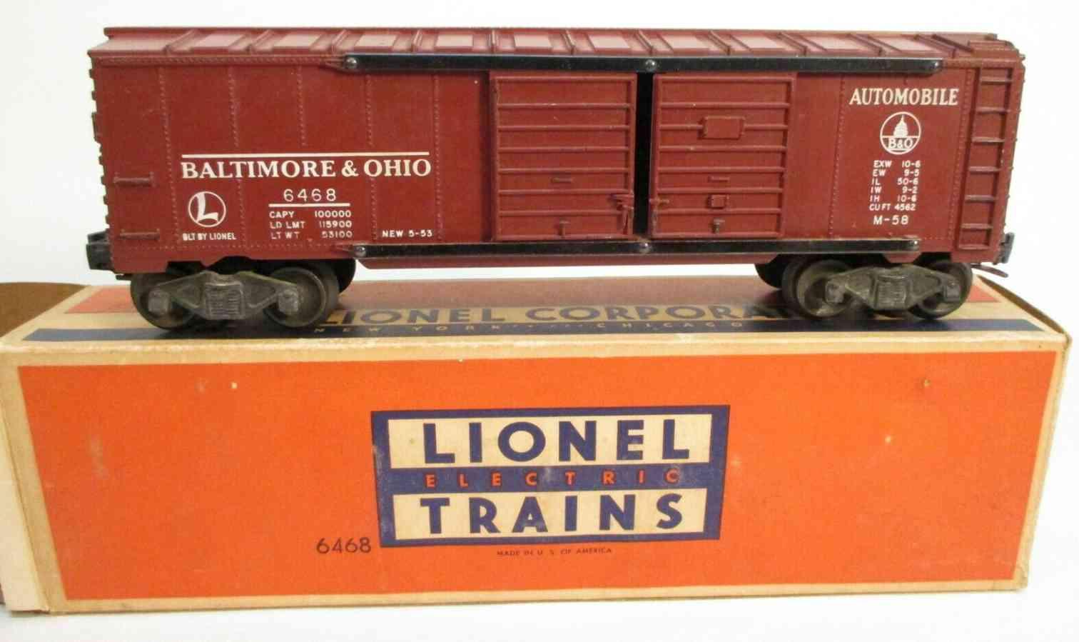 lionel 6468 baltiomore ohio railway toy box car tuscan brown gauge 0