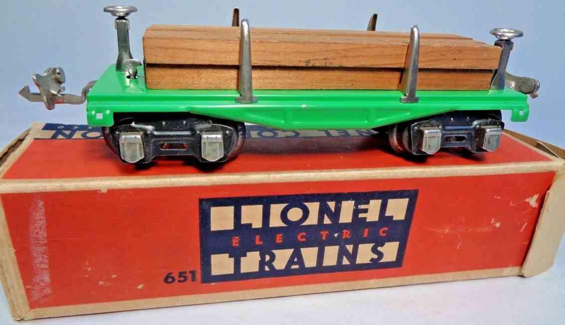 lionel 651 spielzeug eisenbahn bretterwagen flachwagen gruen spur 0