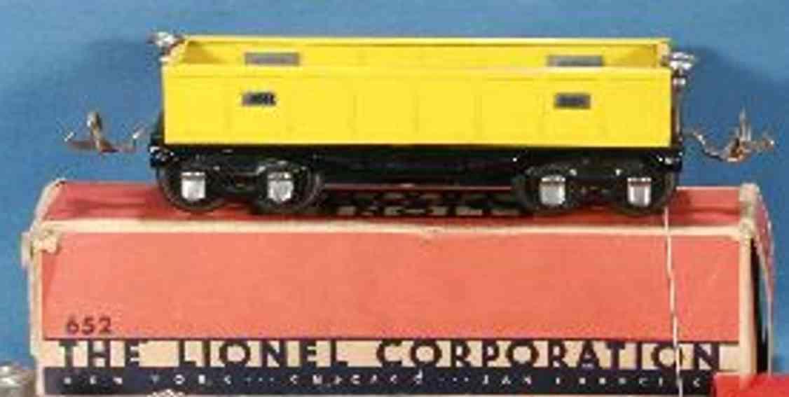 lionel 652 railway toy gondola yellow gauge 0