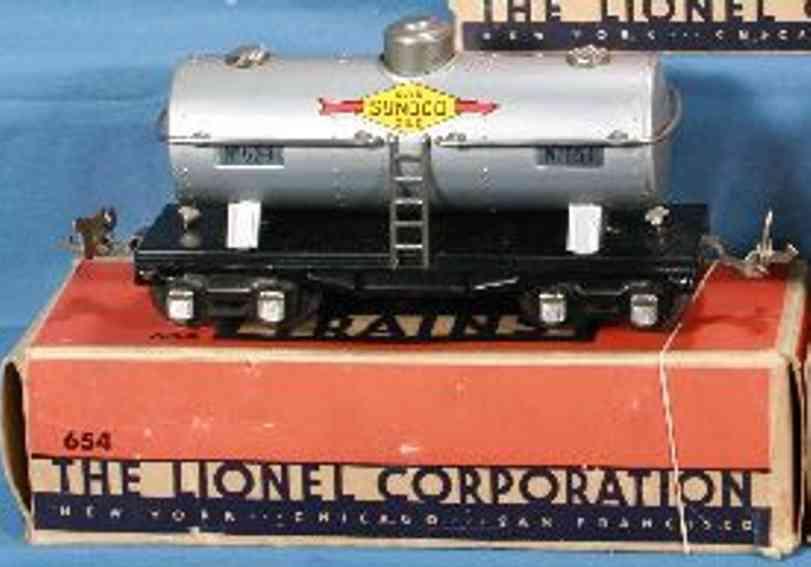 lionel 654 railway toy tank car sunoco aluminium gauge 0