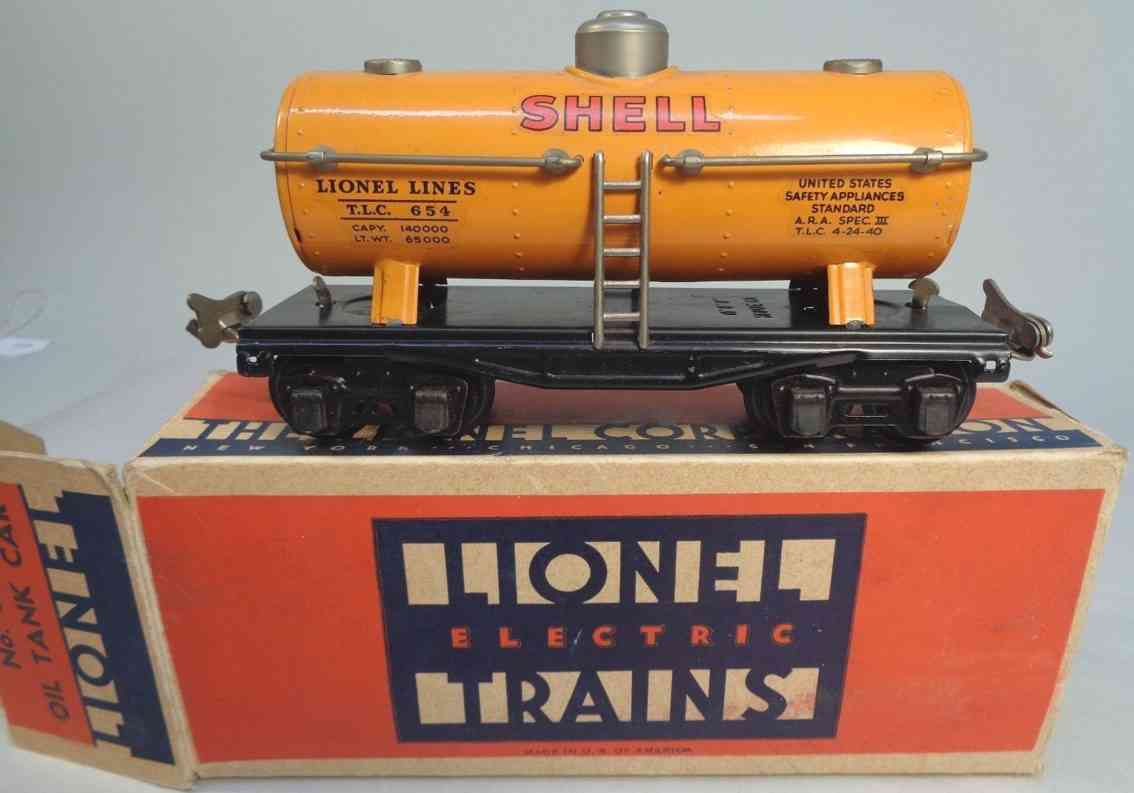 lionel 654 railway toy tank car  shell orange gauge 0