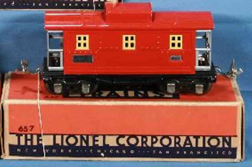 lionel 657 railway toy box car caboose red nickel aliminum gauge 0