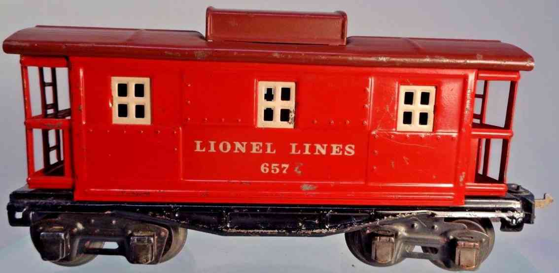 lionel 657 railway toy box car caboose red tuscan gauge 0