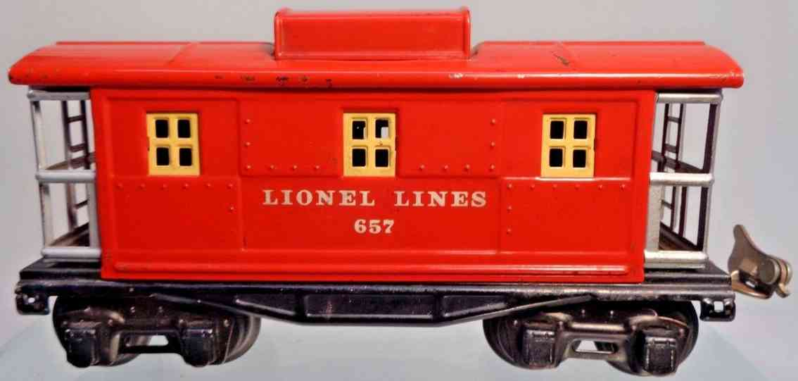 lionel 657 railway toy box car caboose light red yellow gauge 0