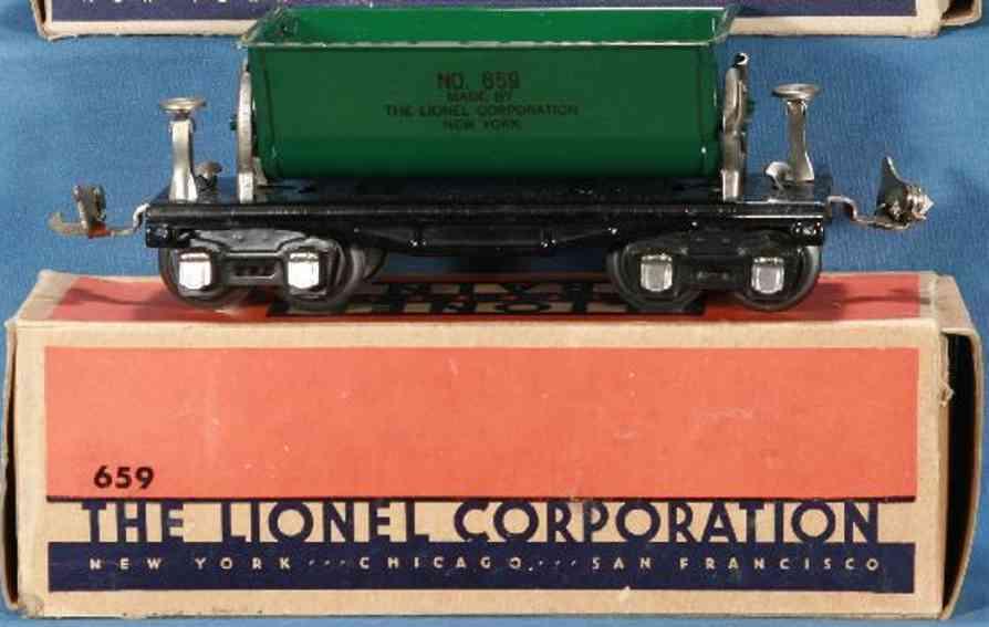 lionel 659 railway toy ore dump car green black nickel gauge