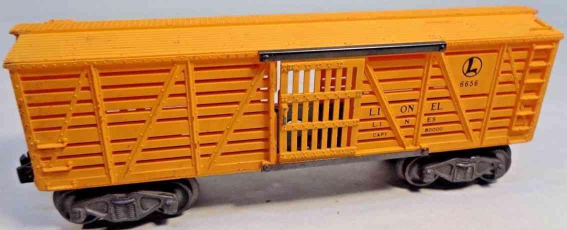lionel 6656 spielzeug eisenbahn viehwagen nr. 6656; 4-achsig; gehäuse aus kunststoff bemalt