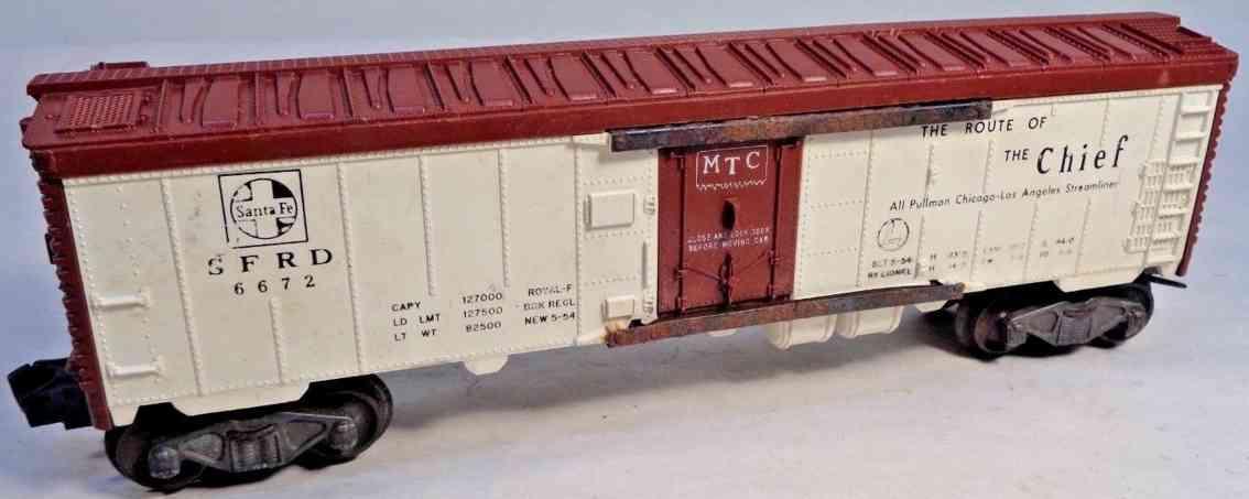 lionel 6672 railway toy santa fe refigerator car gauge 0