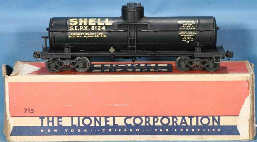lionel 715 type I spielzeug eisenbahn tankwagen schwarz shell spur 0