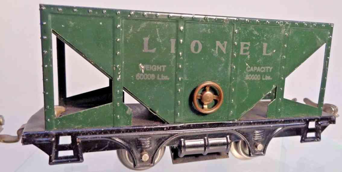 lionel 803  railway toy hooper green latch couplers no journal boxes gauge 0