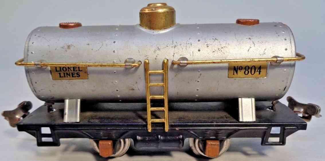 lionel 804 railway toy tank car aluminum copper brass gauge 0