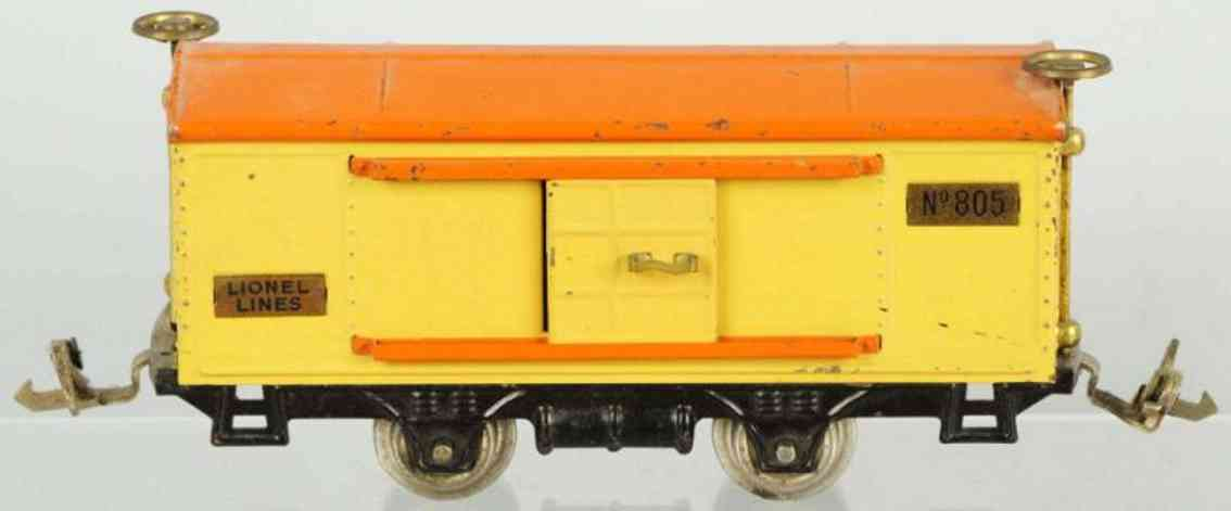 lionel 805 railway toy boxcar yellow gauge 0