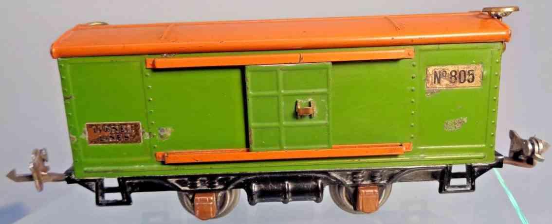 lionel 805 gedeckter gueterwagen gruen orange messing spur 0