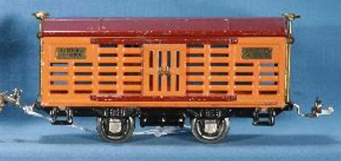 lionel 806/II railway toy cattle with orange body and maroon roof gauge 0