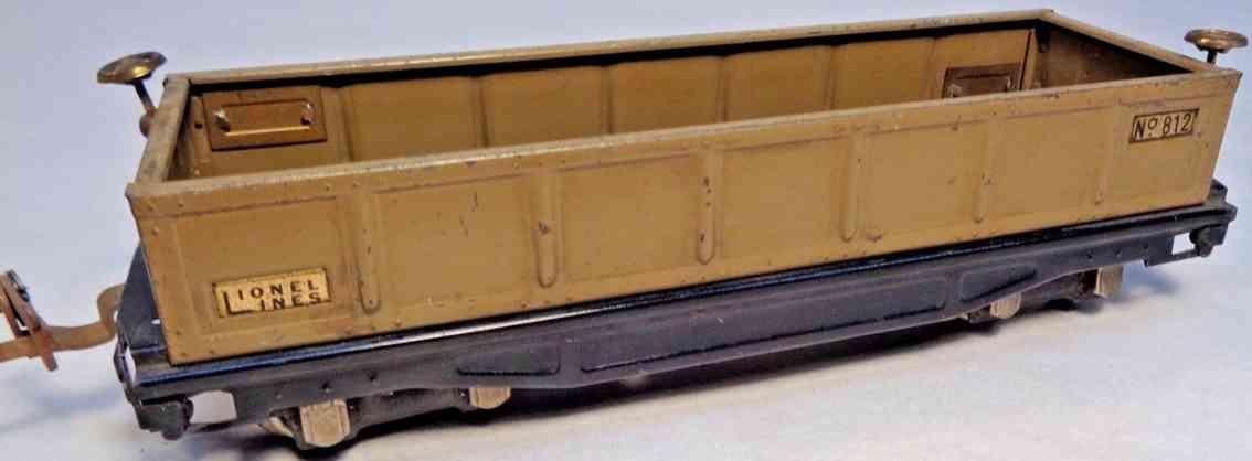 lionel 812 spielzeug eisenbahn offener gueterwagen sandfarben spur 0