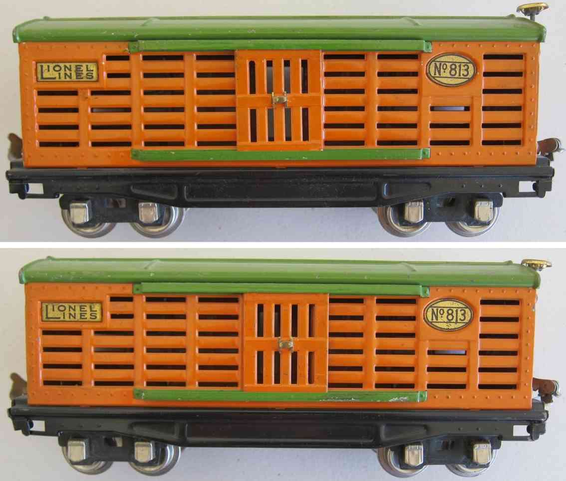 lionel 813 railway toy stock or cattle car in orange gauge 0