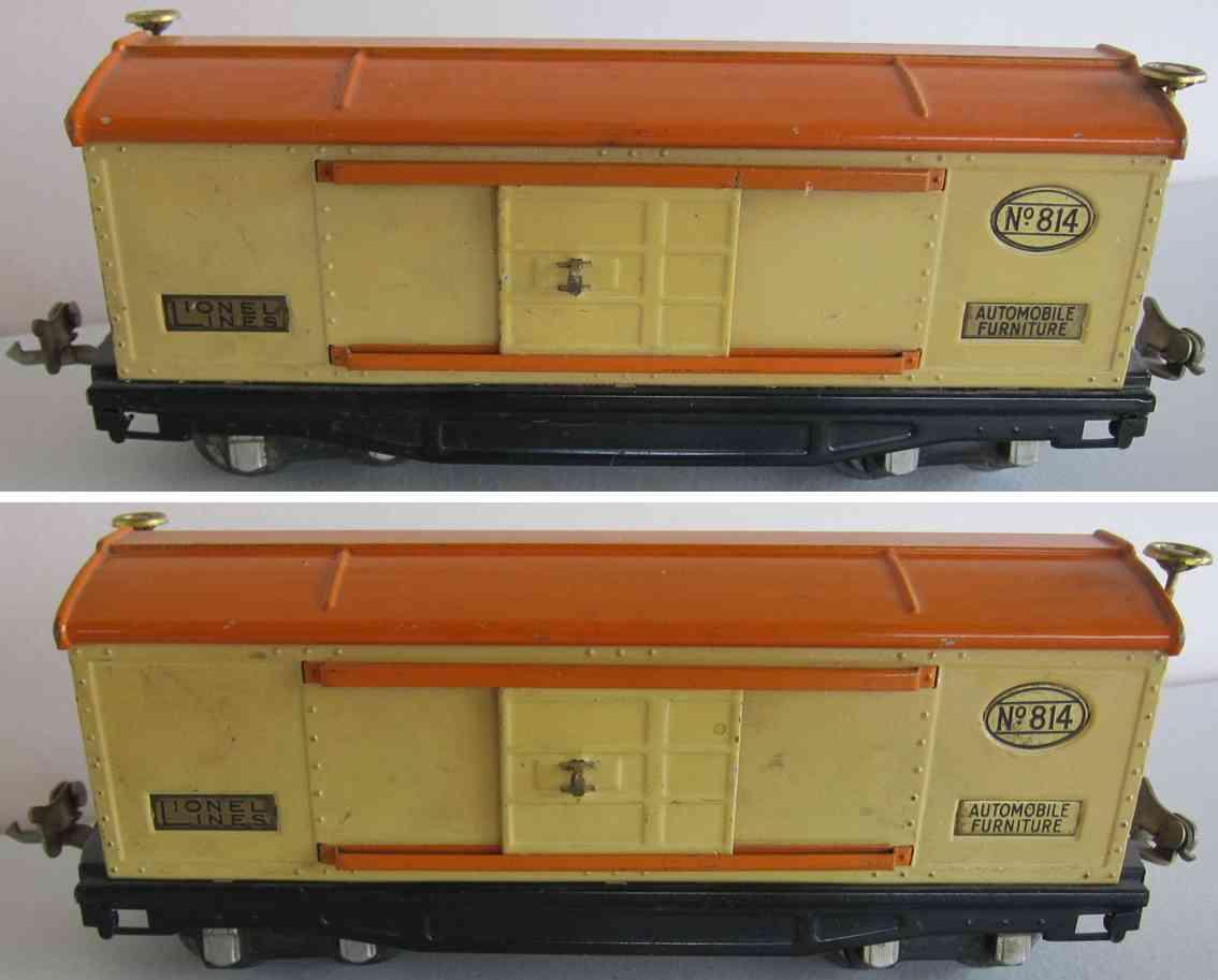 lionel 814 spielzeug eisenbahn gedeckter gueterwagen creme und orange spur 0