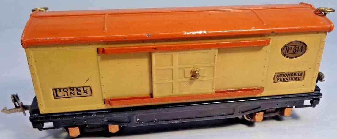 lionel 814 spielzeug eisenbahn gedeckter gueterwagen creme orange spur 0