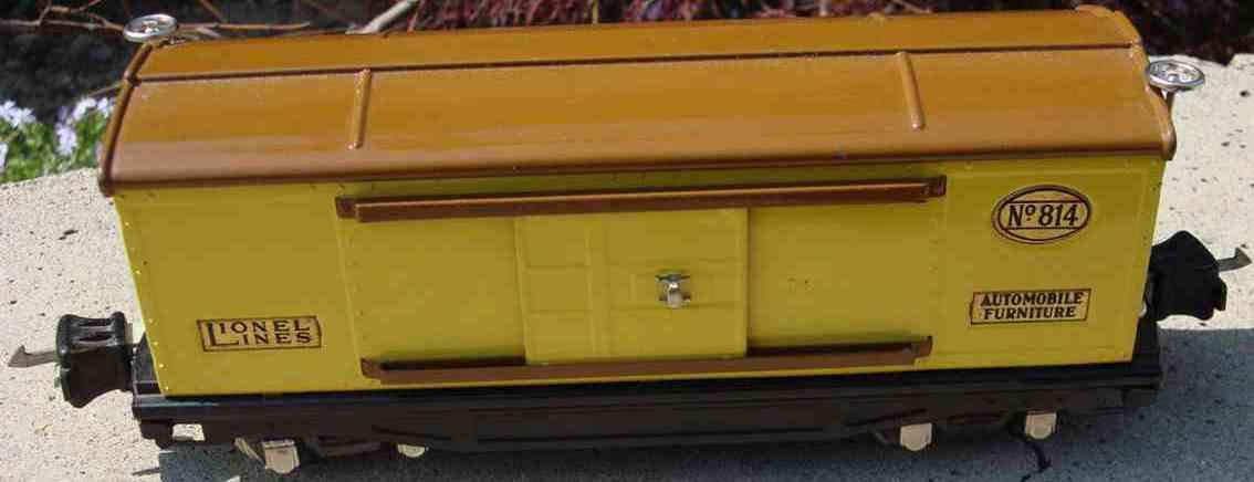 lionel 814 spielzeug eisenbahn gedeckter gueterwagen messing gelb braun spur 0