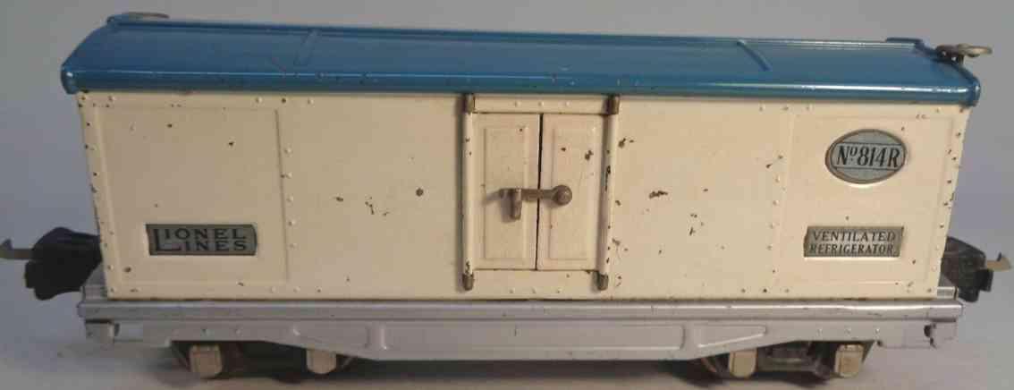 lionel 814r railway toy refrigerator car gloss ivory white blue aluminum gauge 0