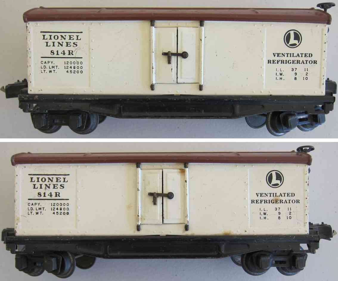 lionel 814r railway toy refrigerator car in semi-gloss white brown roof gauge 0