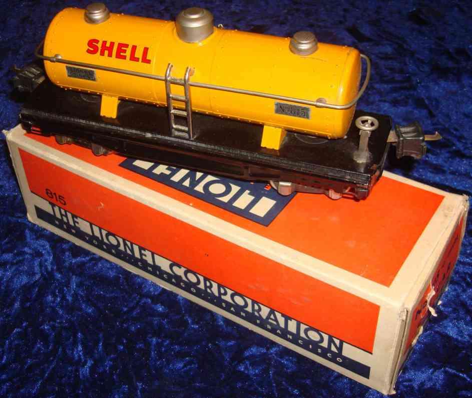 lionel 815 railway toy shell tank car in orange gauge 0