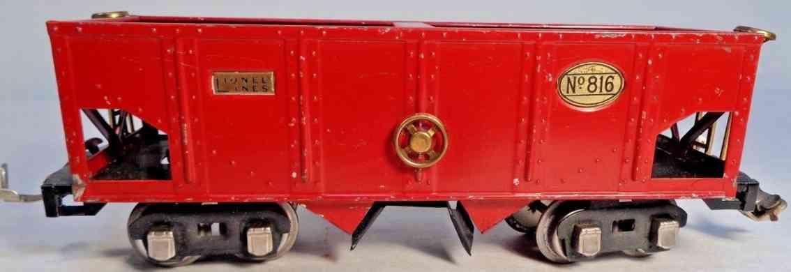 lionel 816 railway toy hopper car red nickel journal boxes brass plates gauge 0