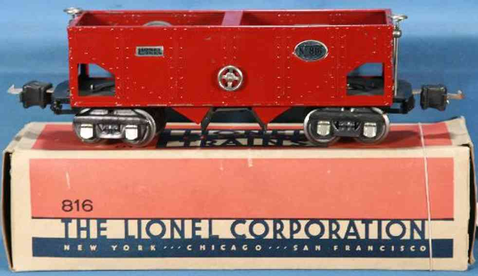 lionel 816 railway toy hopper car red nickel journal boxes plates gauge 0
