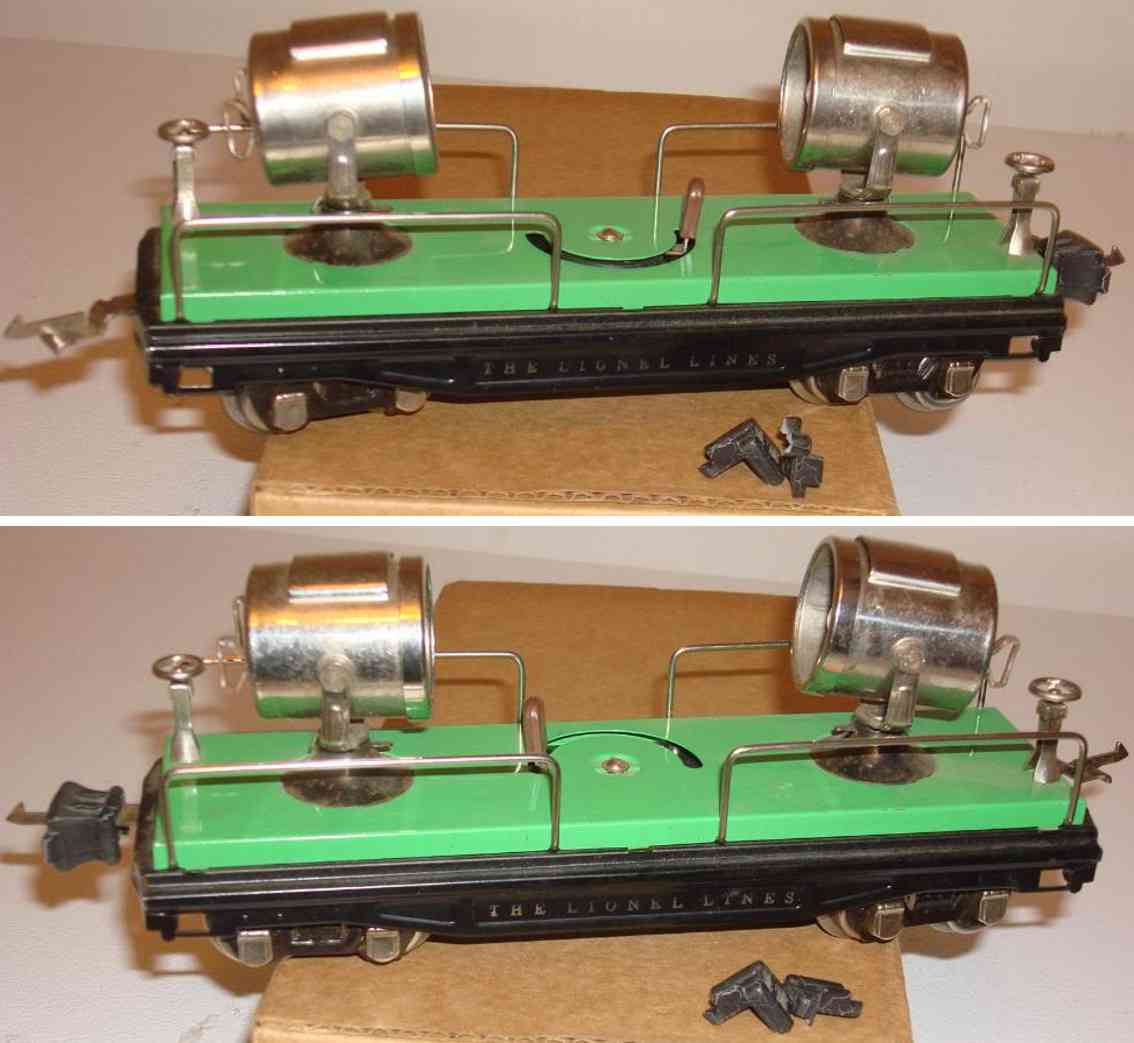 lionel 820 railway toy serachlight car with light green platform gauge 0