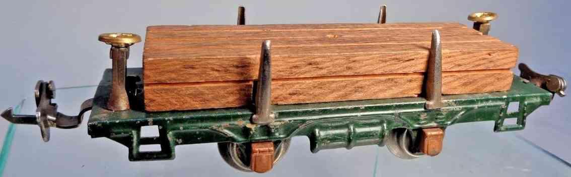 lionel 831 railway toy flat car with four wheels in dark green gauge 0