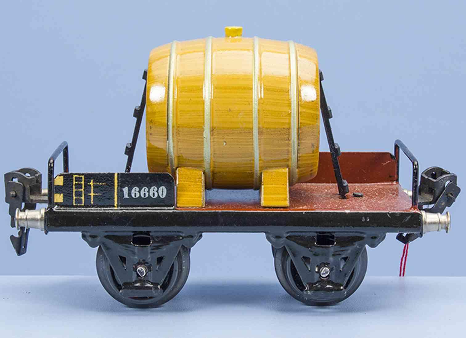 marklin 1666 railway toy barrel car brown with wine barrel gauge 0