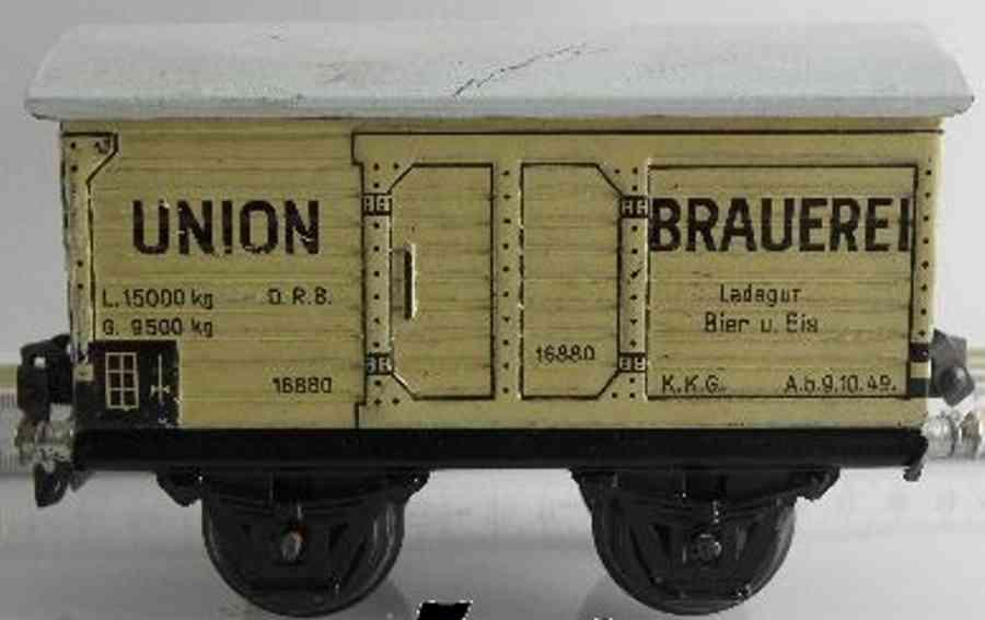 maerklin 1688/0 spielzeug eisenbahn bierwagen union brauerei weiss spur 0