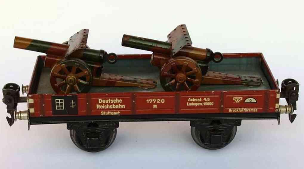 maerklin 1764/0 G spielzeug eisenbahn niederbordwagen zwei kanonen spur 0