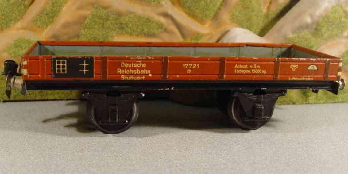 maerklin 1772/1 spielzeug eisenbahn niederbordwagen #1772/1; 2-achsig; rotbraun chromlithografie