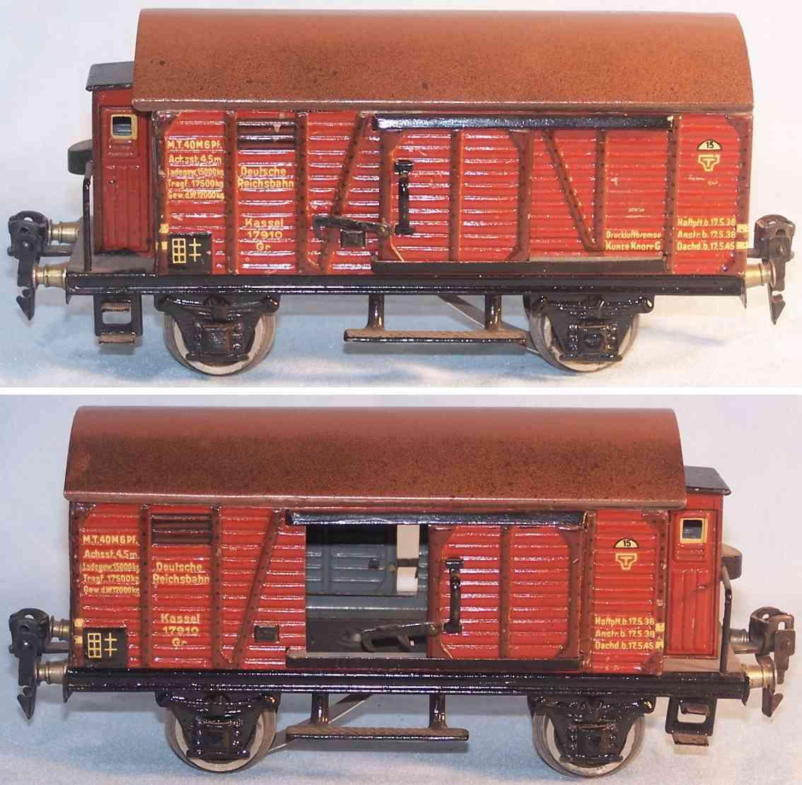 maerklin 1791/0 B (1936) spielzeug eisenbahn gedeckter gueterwagen rotbraun spur 0