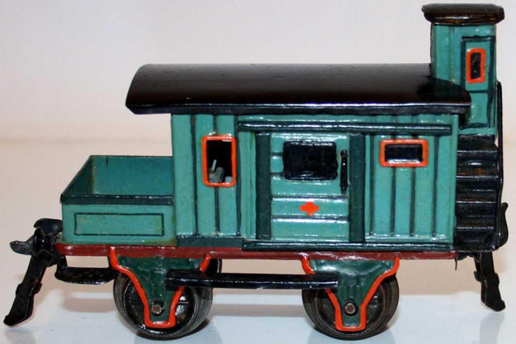 maerklin 1827/0 spielzeug eisenbahn gueterwagen hilfswagen grau gruen spur 0