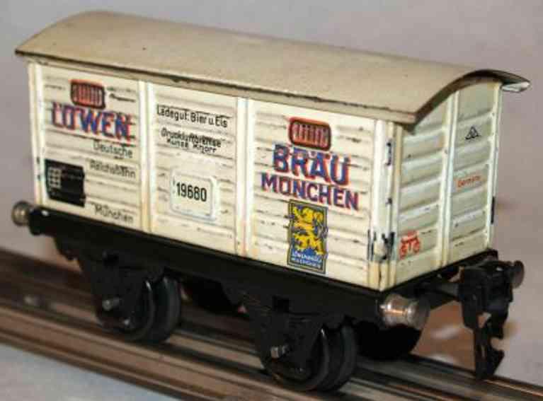 marklin 1968/0 spielzeug eisenbahn bierwagen lowenbrau muenchen spur 0