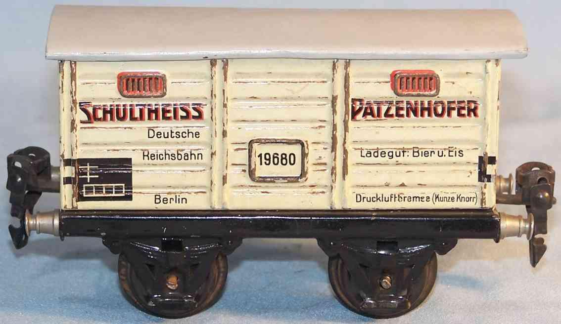 maerklin 1968/0 spielzeug eisenbahn bierwagen schulheiss patzenhofer spur 0