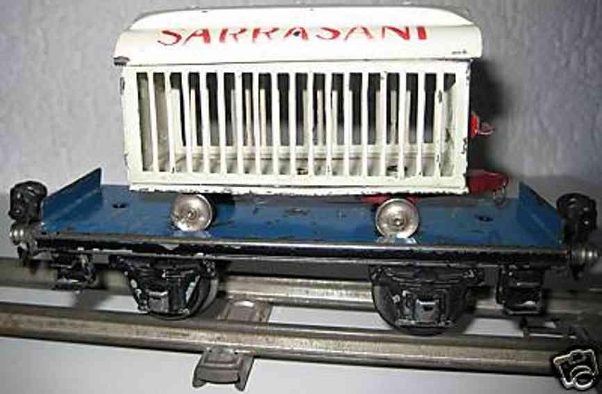 maerklin 1983/0 t spielzeug plattformwagen blau weisser loewenwagen spur 0