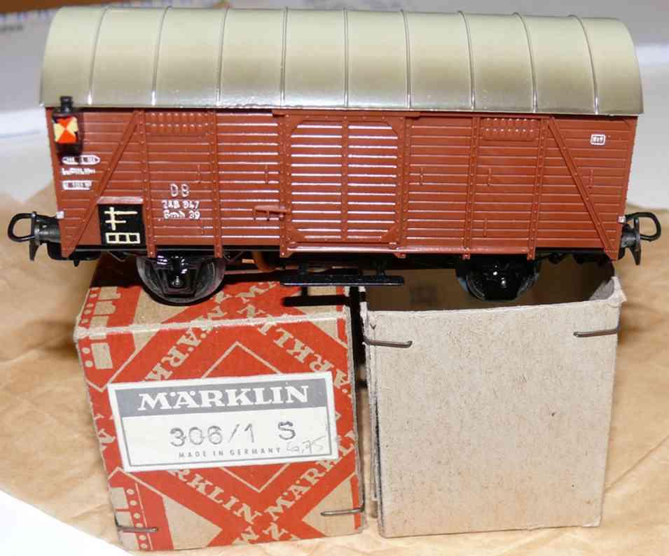 maerklin 306/1 S-1 spielzeug eisenbahn gueterwagen schlusslichtwagen spur h0