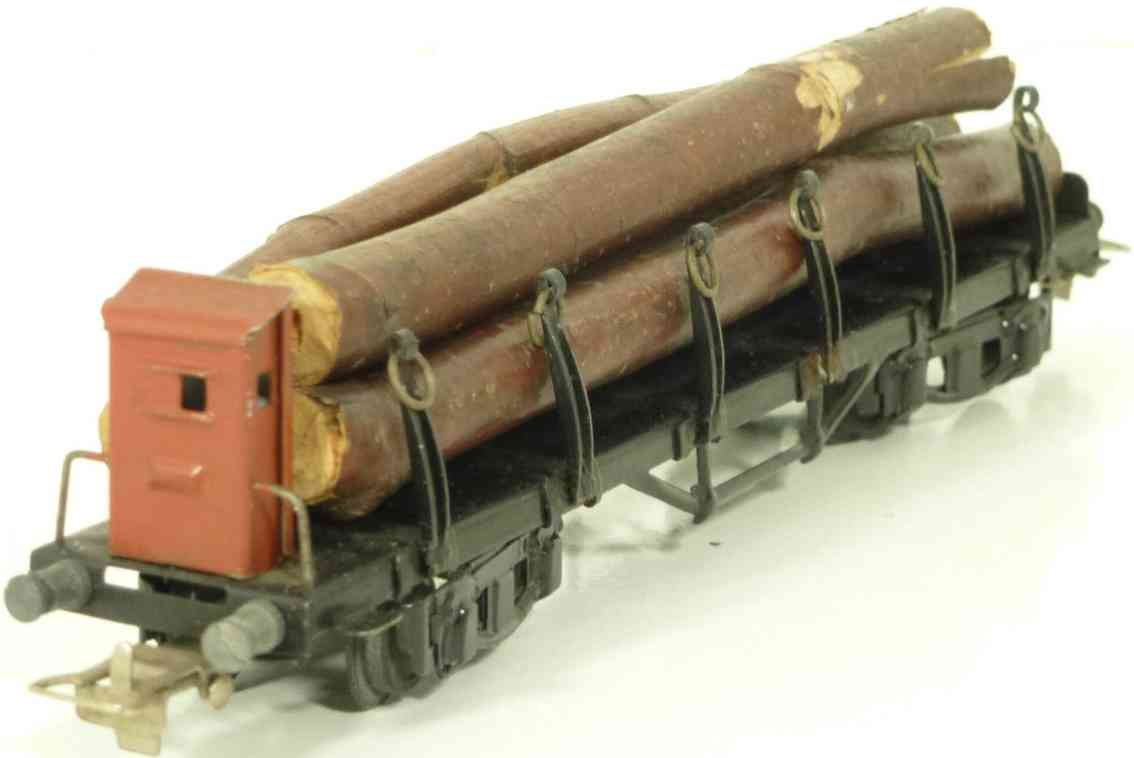 maerklin 392-3 spielzeug eisenbahn flachwagen mit rungen bremserhaus hellbraun spur 0