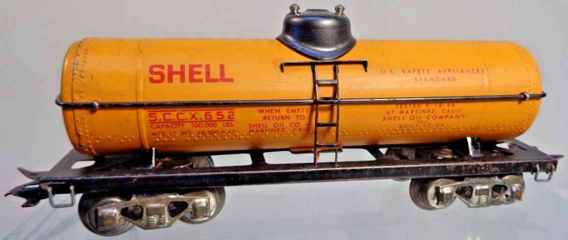 marx louis 3553 railway toy shell tank car orange sccx 652 gauge 0