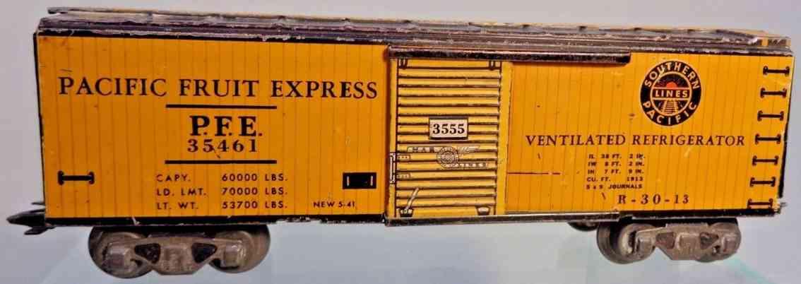 marx louis 3555 spielzeug eisenbahn kuehlwagen gelb pacific fruit express spur 0