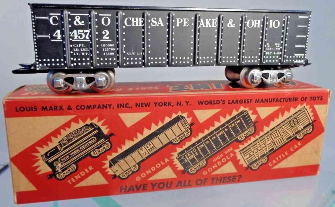 marx louis 3582 railway toy high gondola car gauge 0