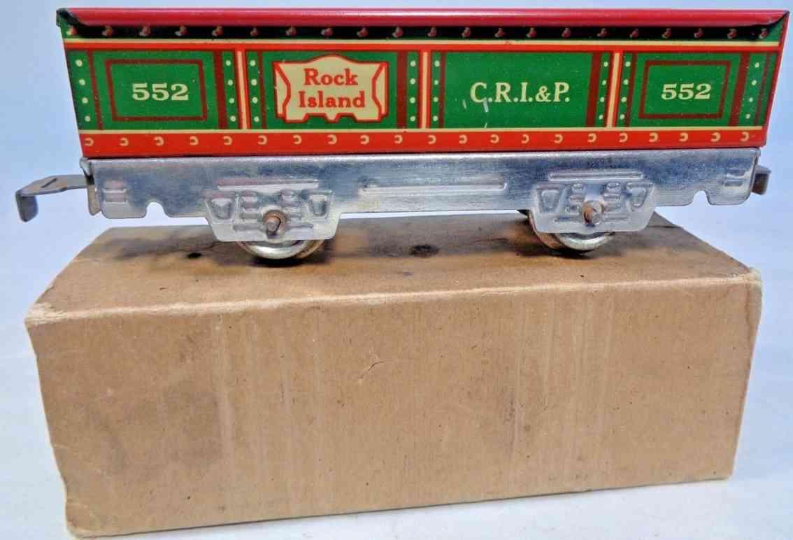 marx louis 552 spielzeug eisenbahn offener gueterwagen silver rock island crip spur 0