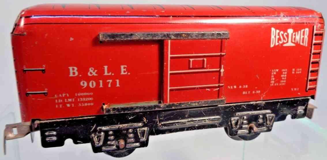 marx louis 555 spielzeug eisenbahn gueterwagen rot bessemer sozr 0