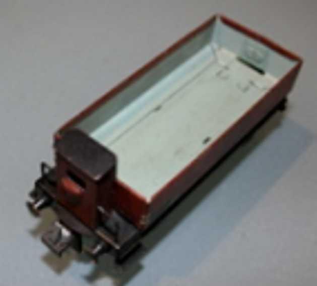 trix 2071 spielzeug eisenbahn güterwagen; 2-achsig; braun, reichsbahn halle